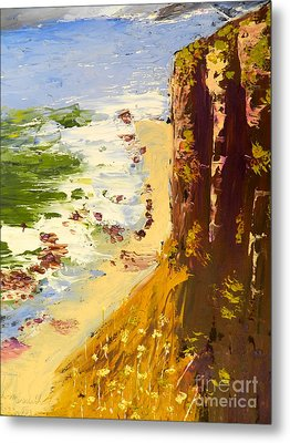 Metal Print featuring the painting Great Ocean Road by Pamela  Meredith