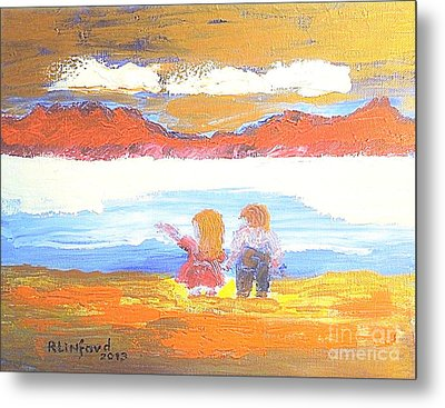 Great Salt Lake Utah And Children Metal Print by Richard W Linford