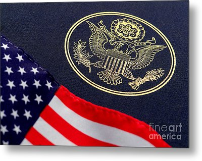 Great Seal Of The United States And American Flag Metal Print by Olivier Le Queinec