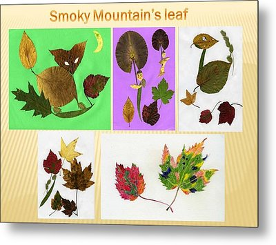 Metal Print featuring the painting Great Smoky Mountain's Leaf by Ping Yan
