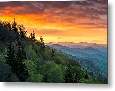 Great Smoky Mountains North Carolina Scenic Landscape Cherokee Rising Metal Print by Dave Allen