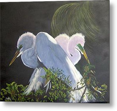 Great White Egrets Metal Print