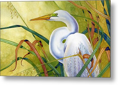 Great White Heron Metal Print by Lyse Anthony