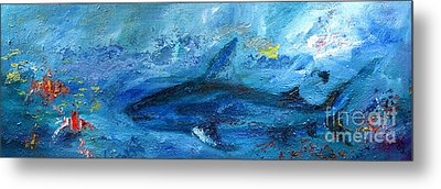 Great White Shark Coral Reef Ocean Life Metal Print by Ginette Callaway