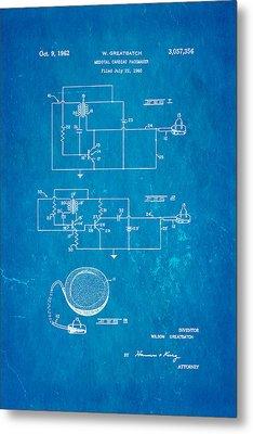 Greatbatch Cardiac Pacemaker Patent Art 1962 Blueprint Metal Print by Ian Monk