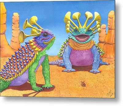 Greater And Lesser Horned Lizards Metal Print by Catherine G McElroy