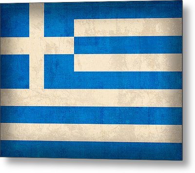 Greece Flag Vintage Distressed Finish Metal Print by Design Turnpike