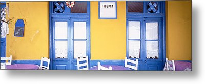 Greece, Hydra, Empty Restaurant Metal Print by Panoramic Images