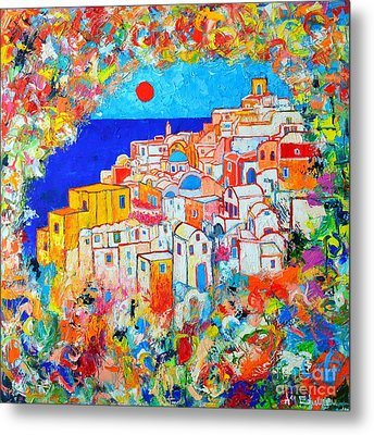 Greece - Santorini Island - Abstract Impression From Oia At Sunset - A Moment In Time Metal Print by Ana Maria Edulescu