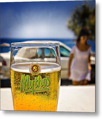 Metal Print featuring the photograph Greek Beer Goggles by Meirion Matthias