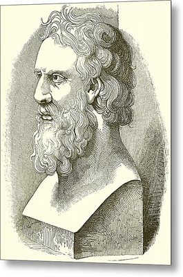Greek Bust Of Plato Metal Print by English School