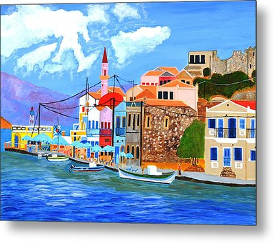 Metal Print featuring the painting Greek Coast by Magdalena Frohnsdorff