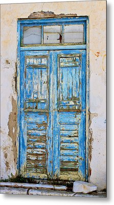 Greek Door Metal Print