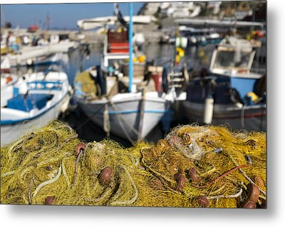 Greek Fishing Harbour Metal Print