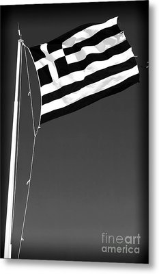 Greek Flag Metal Print by John Rizzuto