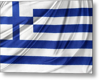 Greek Flag Metal Print by Les Cunliffe