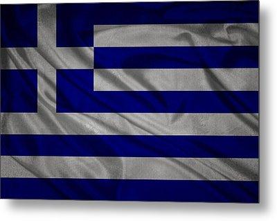 Greek Flag Waving On Canvas Metal Print by Eti Reid