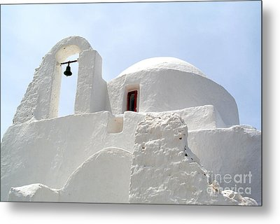 Greek Orthodox Church- Santorini Metal Print by Sarah Christian