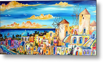 Greek Village Metal Print