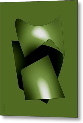 Green Abstract Geometry Metal Print by Mario Perez