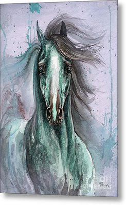 Green And Blue Arabian Horse Metal Print by Angel  Tarantella