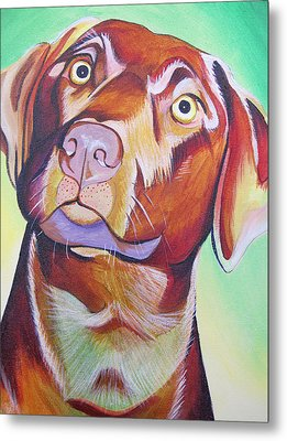 Metal Print featuring the painting Green And Brown Dog by Joshua Morton