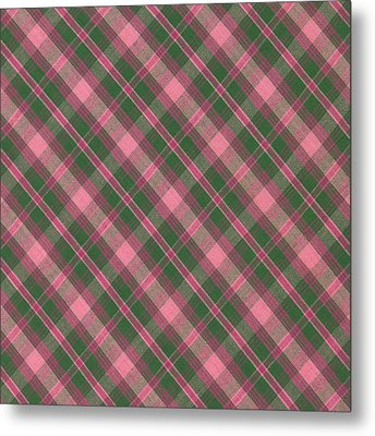 Green And Pink Diagonal Plaid Pattern Textile Background Metal Print