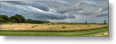 Green And Yellow Meadows At A Golfing Club In Kashubia Of Poland Metal Print