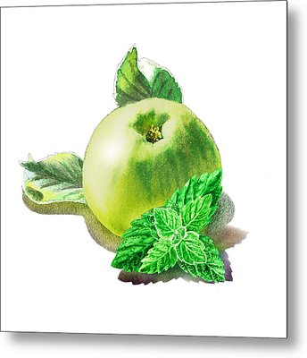 Metal Print featuring the painting Green Apple And Mint Happy Union by Irina Sztukowski