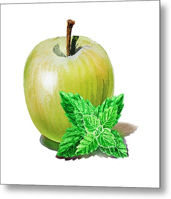 Metal Print featuring the painting Green Apple And Mint by Irina Sztukowski