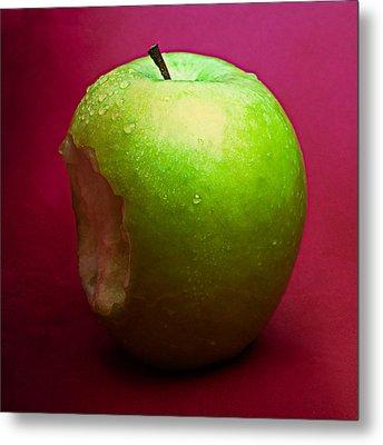 Green Apple Nibbled 2 Metal Print