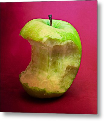 Green Apple Nibbled 8 Metal Print