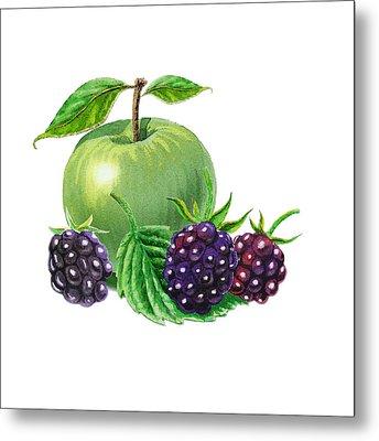 Green Apple With Blackberries Metal Print by Irina Sztukowski