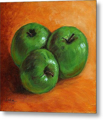 Green Apples Metal Print by Asha Sudhaker Shenoy