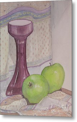 Metal Print featuring the painting Green Apples by Carol Flagg