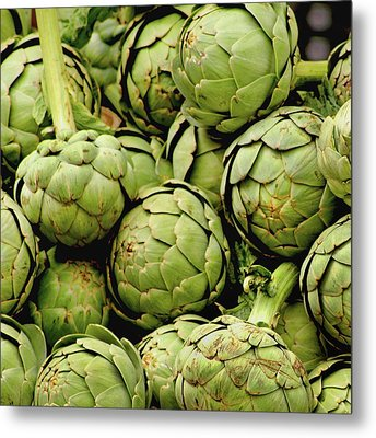 Green Artichokes Metal Print by Art Block Collections