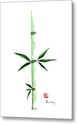 Green Bamboo Plant Grass Bamboos Tribe Woody Watercolor Painting Metal Print by Johana Szmerdt