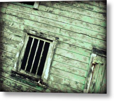 Green Barn Up Close Metal Print by Julie Hamilton