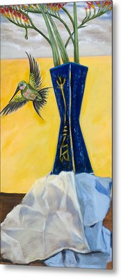 Green Bird Visits Metal Print by Susan Culver