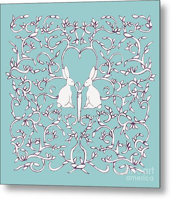 Metal Print featuring the drawing Green Blue Rabbits Leaves by Donna Huntriss