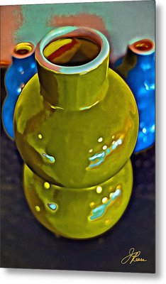 Metal Print featuring the painting Green  Blue Vases by Joan Reese