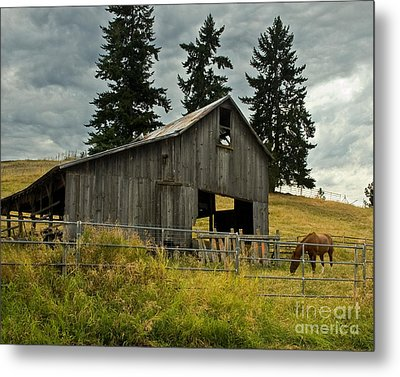 Green Bluff Horsebarn Metal Print