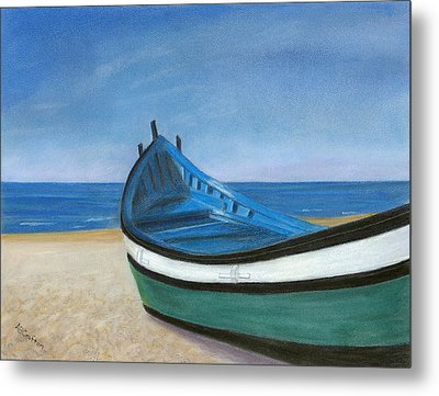 Metal Print featuring the painting Green Boat Blue Skies by Arlene Crafton