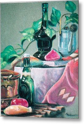 Green Bottles And Copper Metal Print
