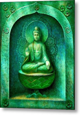 Green Buddha Metal Print by Sue Halstenberg