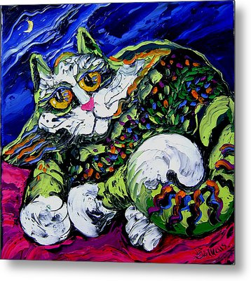 Green Cat Metal Print by Isabelle Gervais