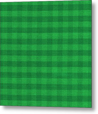 Green Checkered Pattern Cloth Background Metal Print