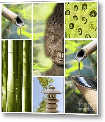 Green Collage Metal Print by Delphimages Photo Creations