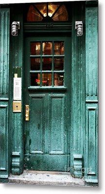 Green Door In The Village Metal Print by John Rizzuto
