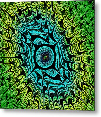 Green Dragon Eye Metal Print